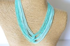 Ombre turquoise necklace, teal necklace, aqua necklace,mint necklace,statement necklace,bridesmaid turquoise necklace,seed bead necklace by StephanieMartinCo on Etsy https://www.etsy.com/listing/157529323/ombre-turquoise-necklace-teal-necklace