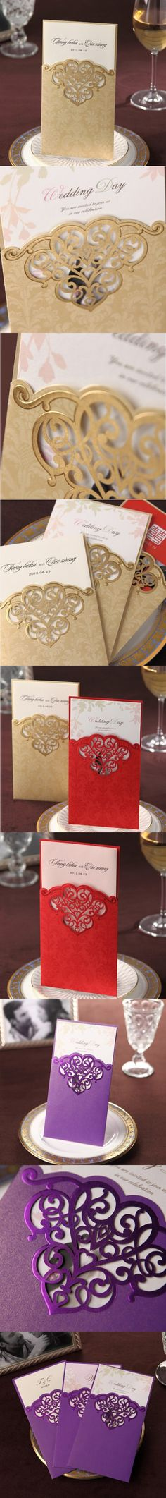 Lovely gold laser cut embossed invitation VC0006G