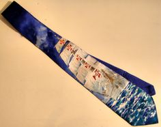 cravatta velieri dipinta a mano su seta