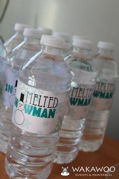 Geschmolzene Schneemann Wasser Flaschenetikett druckbare aus Pom Pom Winter ONEderland Sammlung auf Etsy, $5.78