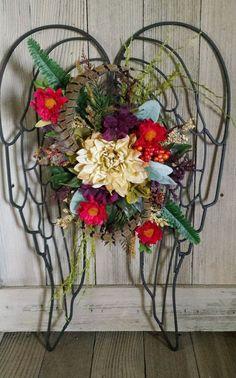 Artificial Floral Flower Arrangement Metal Angel Wings Multi Color Wall Decor in Home & Garden, Home Décor, Floral Décor | eBay