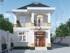Một số mẫu thiết kế biệt thự top 100 đẹp nhất Việt Nam – Công Ty Thiết Kế Xây Dựng Nhà Đẹp Kiến An Vinh House Outside Design, House Front Design, Small House Design, Cool House Designs, Modern House Design, 2 Storey House Design, Sims House Design, Townhouse Designs, Bungalow House Design