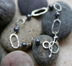 Sterling Silver Link and Black Pearl Bracelet by KMallaby on Etsy, $70.00