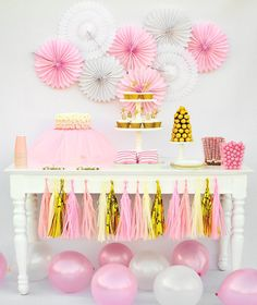 Pink and Gold Baby Shower ballerina party decorations by BashKits