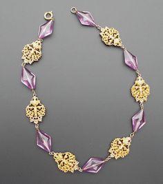 Vintage Art Deco Nouveau Era Gilt Filigree Flower Purple Glass Necklace Czech ? #unknown