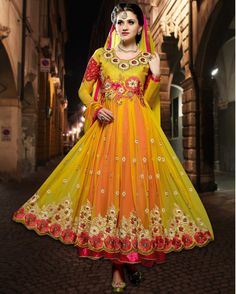 Yellow   riotous Embroidered Net Salwar Suits for women (Semi Stitched)       Fabric:   Net       Work:   Embroidered       Type:   Salwar Suits for   women (Semi Stitched)       Color:   Yellow                 Fabric Top   Net       Fabric Botto