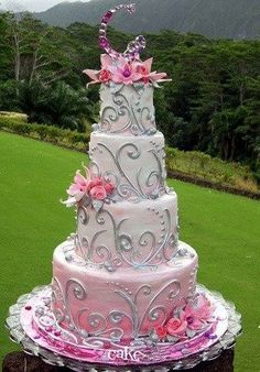 Pretty pink and scroll cake