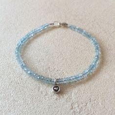 Aquamarine Sterling Silver Beaded Bracelet with Hill Tribe Thai Silver Heart Charm, Sundance Style, Boho Stacking Bracelet, March Birthstone by LoveandLightArtistry on Etsy