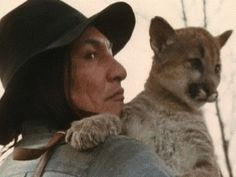 Will Sampson gets a kiss from a mountain lion cub, in Fish Hawk (1979)   -- animated GIF