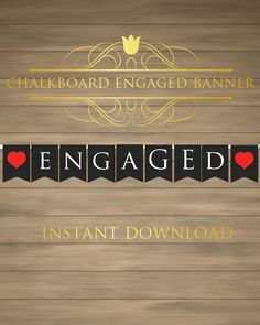 Engaged Banner  Engaged Sign  Engagement Banner  by Yamashop, $5.00
