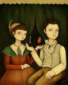 """Heart and Key Print by Emily Martin 8"""" x 10"""" Print She says about this portrait, """"This is a painted love song."""" """"A mysterious pair sits for their portrait in front of a deep green curtain, while levit"""