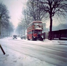 London bus in the snow 1970