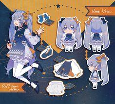 ゆきみく (Snow Miku) by Fei Renlei Vocaloid, Character Drawing, Character Concept, Character Sheet, Cute Characters, Anime Characters, Anime Chibi, Anime Art, Tekken Cosplay