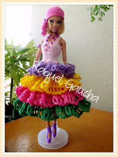 #Cléa1000 #Cléa5 #Crochet #Vestido #Dress #Muñeca #Doll #Barbie #RaquelGaucha