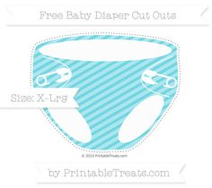 Pastel Teal Diagonal Striped  Extra Large Baby Diaper Cut Outs