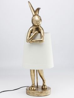 Contemporary Heaven offers the Rabbit Table Lamp which in gold supporting a white shade for sale to buy online UK Unusual Table Lamps, Table Lamps Uk, White Table Lamp, Unique Lamps, Gold Floor Lamp, Led Röhren, Trendy Furniture, Kare Design, Antique Gold