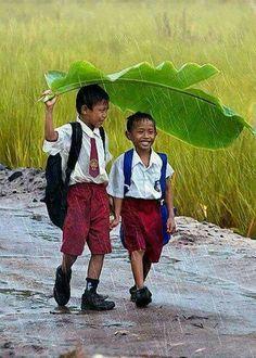 La lluvia... Asi son los amigos verdaderos...