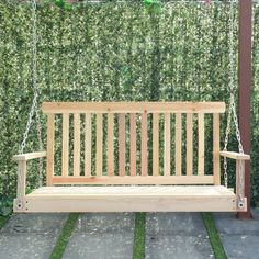 Giantex 4 FT Porch Swing with Chain Natural Wood Garden Swing Seat Patio Hanging Seat Garden Swing Seat, Patio Swing, Garden In The Woods, Home And Garden, Screened Back Porches, Outdoor Spaces, Outdoor Decor, Natural Wood, Garden Design