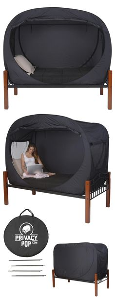 Privacy Pop Tent Twin Black // this is an absolutely ingenious design for the privacy of dorm-dwellers and room-sharers! #product_design #industrial_design
