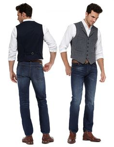 too casual? Better is black waistcoat and black jeans/trousers. maybe with a hipster/old man cap? Waistcoat Men Casual, Men's Waistcoat, Black Waistcoat, Costume Classe, Gilet Jeans, Vest Outfits, Casual Outfits, Mens Clothing Styles, Stylish Men