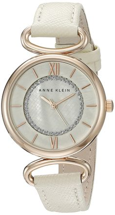 Anne Klein Women's AK/2192RGIV Glitter Accented Rose Gold-Tone and Ivory Strap Watch ** Be sure to check out this awesome watch.