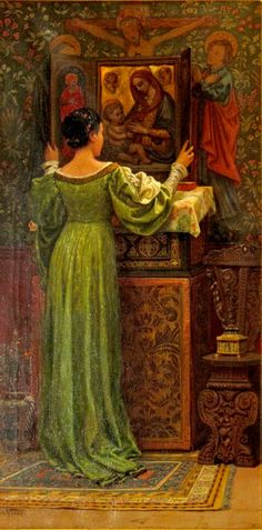 Elihu VEDDER Girl at Shrine 1874