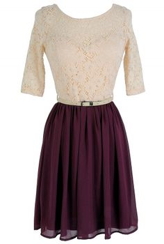 Plum Pretty Belted Lace Dress www.lilyboutique.com