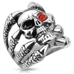 Men's West Coast Jewelry Clawed Skull with One Red CZ Eye Stainless... (23 CAD) ❤ liked on Polyvore featuring men's fashion, men's jewelry, men's rings, jewelry & watches, rings, silver, mens cubic zirconia rings, mens stainless steel biker rings, mens cz rings and mens stainless steel skull rings