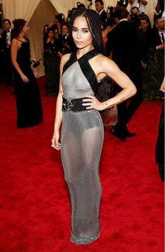 Zoe Kravitz in a sheer, mesh Alexander Wang for Balenciaga dress at the 2015 Met Gala
