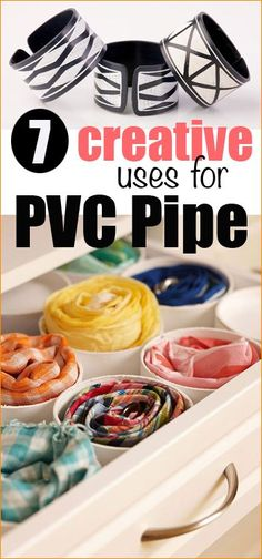 Creative uses for PVC Pipe.  Cool uses for pvc pipe you never thought of before.  Home organization using pvc pipe.