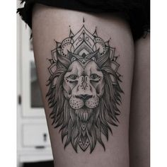 lion mandala ink on Instaglram Leo Tattoos, Future Tattoos, Body Art Tattoos, Sleeve Tattoos, Tatoos, Tattoo Diy, Get A Tattoo, Instagram Tattoo, Tattoo Ideas
