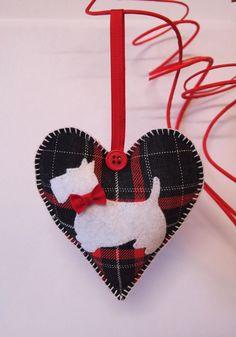 Valentine Heart Scottish Terriers. Tartan, red-white-black, felt, buttons. Two-sided. on Etsy, $12.00 Tartan Christmas, Christmas Sewing, Christmas Makes, Black Christmas, Felt Christmas Decorations, Felt Christmas Ornaments, Dog Ornaments, Heart Ornament, Fabric Hearts