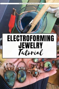 How To Copper Electroform Jewelry: Step By Step Process - electroforming artist - Do you want to electroform jewelry? Check out my step by step tutorial and learn how to make the mo - Metal Jewelry Handmade, Recycled Jewelry, Copper Jewelry, Wire Jewelry, Metal Jewelry Making, Raw Crystal Jewelry, Bullet Jewelry, Jewelery, How To Make Crystals