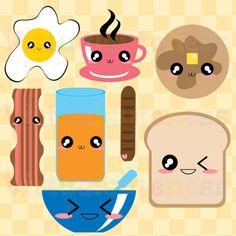 Desayuno kawaii Clipart alimentos Clip Art por Virtualcuteness