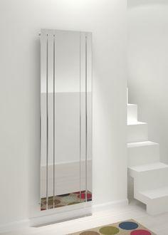 Kudox Tova Mirror Radiator Chrome, x 5060235341748 Shower Panels, Luxury Bathroom, Room Design, Bathrooms Remodel, Open Plan Kitchen Living Room, Vertical Radiators, Bathroom Design, Hall Mirrors, Decorative Radiators