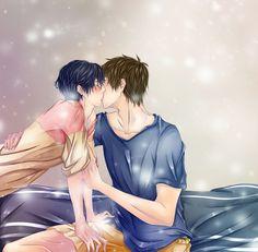 Free! Iwatobi Swim Club - Makoto and Haru: Goodnight Kiss by Iwonn.deviantart.com on @DeviantArt