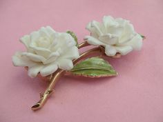 vintage jewelry white roses brooch pin, Crown Trifari costume jewelry, 1950's fashion