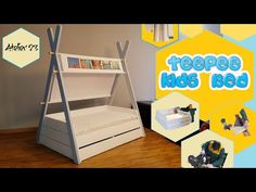 Patut copii tip Montessori - Teepee bed Diy Teepee Bed, Diy Bed, Bunk Beds, Toddler Bed, Furniture, Youtube, Home Decor, Montessori Bed, Homemade Home Decor