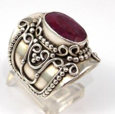 Sterling Silver Modernist Dot Natural Royal Red Ruby Ring Size 8.25
