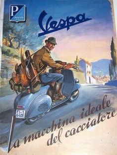 Coolest picture of old vespa in tuscany advertisement
