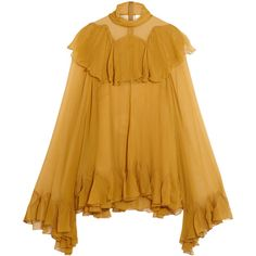Chloé Ruffled silk-crepon turtleneck blouse (£2,310) ❤ liked on Polyvore featuring tops, blouses, yellow top, silk ruffle blouse, silk camisole top, flutter sleeve top and ruffle sleeve blouse