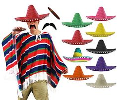 cool       £12.99  MEXICAN MAN COSTUME INCLUDES:BLUE RED & GREEN STRIPED PONCHO + SOMBRERO WITH WHITE POMPOM EDGING + TASH & CIGARPERFECT FOR MEX...  Check more at http://fisheyepix.co.uk/shop/mexican-man-fancy-dress-costume-western-bandit-wild-west-red-blue-green-poncho-tash-cigar-natural-sombrero-adults-one-size-fits-most/