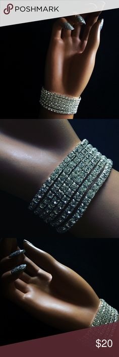 6 Pc Austrian Crystal Rhinestone Bling Bracelets Frost Yourself 💎 with these drop dead gorgeous Austrian Crystal Rhinestone Jeweled Bracelets! Elastic so they are stretchy. Comes in a set of 6. Perfect for a Wedding, Formal, Holiday Party, NYE or anytime you want some sparkle 🌟 Comes new in package. Would make a great gift! 🎅🏻 Bundle your Likes for a Private Discount 🎁 Jewelry Bracelets
