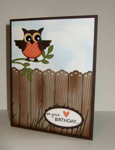Owl Punch and Woodgrain stamp, fence with lace border punch