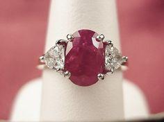 Estate 18K Plat 3 17ct Burma Ruby Trillion Diamond Engagement Ring SZ6 5 | eBay; I LOVE this one!; $4800