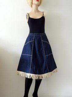 1940s-50s Denim Western Skirt / Vintage Rockabilly Blue Jean Skirt with Fringe
