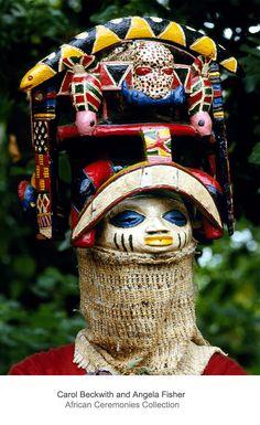 Africa | Oro Efe mask performing during Yoruba Gelede masquerades.  Benin. | ©Carol Beckwith and Angela Fisher
