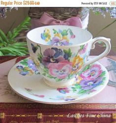ON SALE Queen Anne SPRING Melody Bone China Cup and Saucer