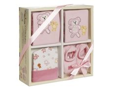 Playshoes, Geschenke-Set 4-teilig für Mädchen zur Gebut, rosa, Body, Lätzchen,