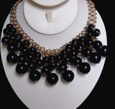 Vintage Graduated Size Black Lucite Bead Chainmaille Bib Statement Necklace…